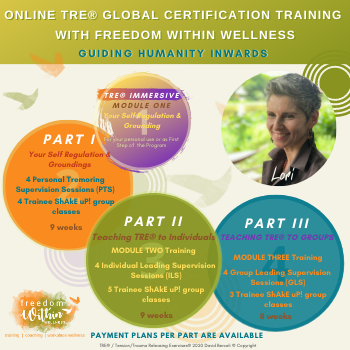 Online TRE® Global Certification Training Module 1 with Lori Ann Arsenault - Nov 6th - 8th / M2- Jan 28th - 30th & Feb 8th / M3 - May 1st